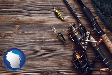 fishing rods and reels - with Wisconsin icon