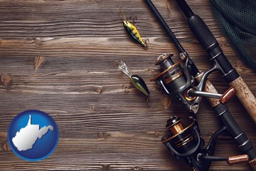 fishing rods and reels - with West Virginia icon
