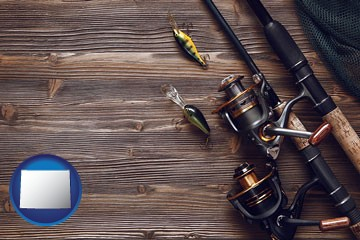 fishing rods and reels - with Wyoming icon